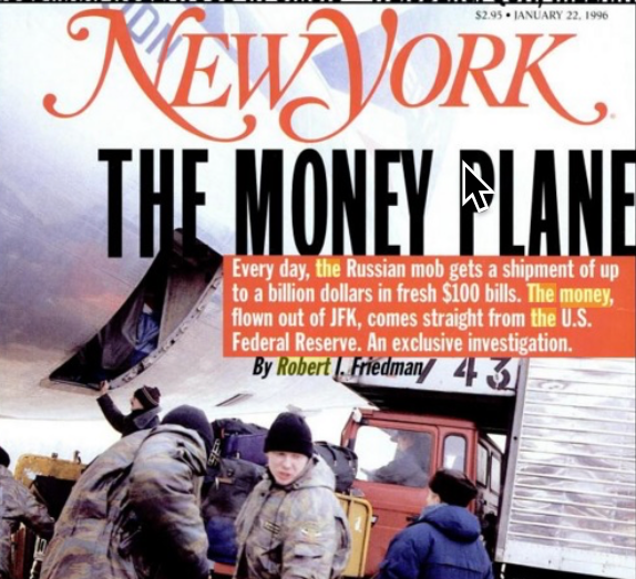 The Money Plane by Robert Friedman Mentions Discusses Jonathan Winer, Khodorkovsky In 2000